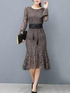 Buy Women Lace Hollow Out Belt Solid Mermaid Bodycon Dress online with cheap prices and discover fashion Bodycon Dresses at Fashionmia.com.
