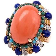 Coral Turquoise Lapis Lazuli Diamond Gold Ring