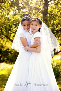 Beautiful sisters just before their first Holy Communion  Cute to do w friends or cousins.