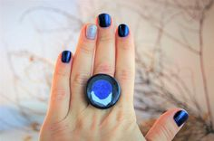 Womens Ring Ceramic Ring Blacke Blue and White Keramik Schmuck