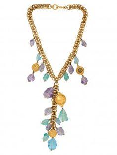 Vintage Chanel Gold and Multicolor Stone Teardrop Necklace