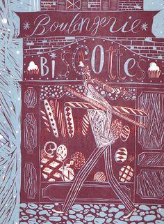 Boulangerie. Hand printed Linocut. Original art print.