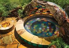 Small Mosaic Retreat Swimming Pool-Backyard Landscaping Paradise- 30 Spectacular Natural Pools That Will Mesmerize You Outdoor Ponds, Ponds Backyard, Backyard Landscaping, Outdoor Gardens, Outdoor Spaces, Outdoor Decor, Natural Landscaping, Garden Ponds, Backyard Ideas
