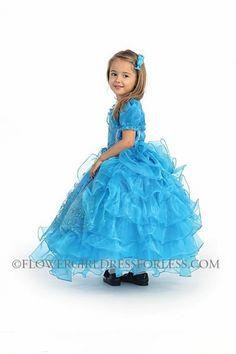 Girls Dress Style DR5064- Spaghetti Strap Embroidered Organza Ruffle Dress with Bolero