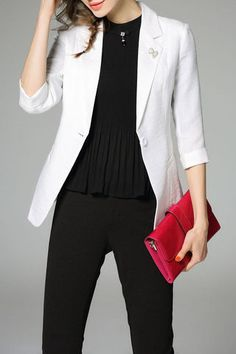 $75.99 White Buttons Rolled Sleeves Blazer