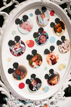 First year of photos display with little Mickey ears -- and other ideas for a Mickey-themed first birthday party! Mickey 1st Birthdays, Mickey Mouse Clubhouse Birthday Party, Mickey Mouse 1st Birthday, Mickey Mouse Parties, Mickey Party, First Birthday Parties, Birthday Ideas, Cupcake Mickey, Theme Mickey