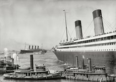 New York. June 21, 1911, White Star liner RMS Olympic guided by tugboats Kirkham and Admiral.