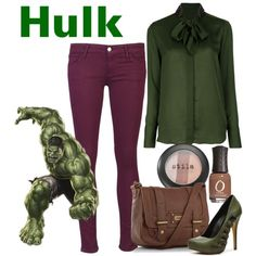"""""""Marvel-ous Fashion, HULK"""" by irishgrlnextdoor on Polyvore comic book inspired outfit. Avengers"""