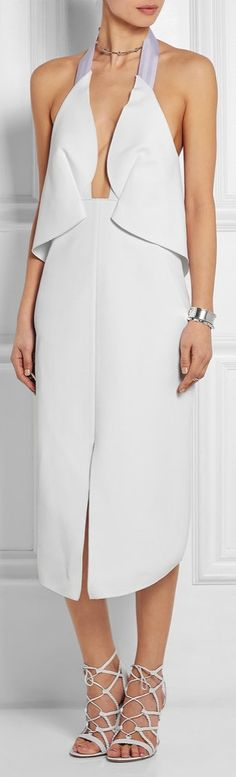 We'd love to wear this Dion Lee Halterneck Stretch-Crepe Dress to our rehearsal dinner!
