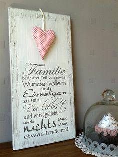 "Weißes Shabby Holzschild ""Familie"""