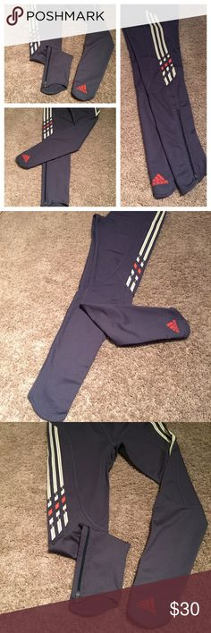 Adidas running leggings NWOT, rare Adidas legging In gray-blue great fabric,holds you in and keeps you warm. Never worn,No tags. Adidas Pants Leggings