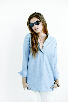 Beach Shirt Dress - Chambray Ditzy Floral from Faherty Brand