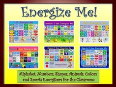 "The following product; ""Energize Me"" Bundle- Alphabet, Numbers, Shapes, Animals, Colors and Sports Energizing Movement is a compilation of 6 sets of ""high energy, fun and organized"" classroom activities"