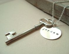 Personalized Key Necklace Sterling Silver by FuchsiaBloomStudio, $38.00 Or DIY with old key, peice of tin, and engraver