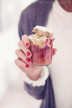 cranberry pear compote with speculaas crumble & cinnamon star cookies