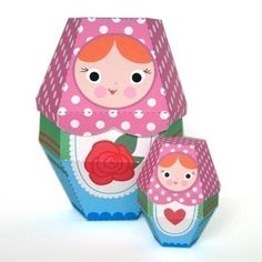 Rose Matryoshka Nesting Doll Printable Paper Craft PDF from fantastic toys etsy shop