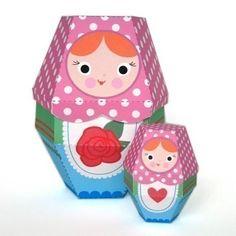 Rose Matryoshka Nesting Doll Printable Paper Craft PDF from fantastic toys etsy shop