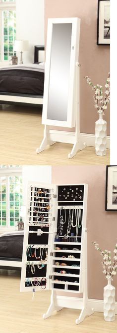 Multi-Purpose 168165: White Mirrored Jewelry Cabinet Armoire W Stand Mirror Rings, Necklaces, Bracelet -> BUY IT NOW ONLY: $115.49 on eBay!