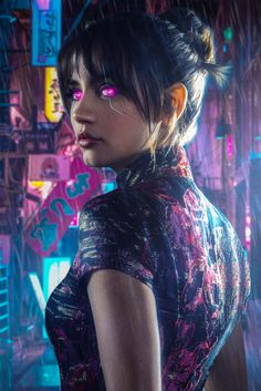 """Joi was a purchasable holographic companion. One of these Joi products was the love interest for Blade Runner K. On the evening of June K returned to his apartment where his Joi """"prepared"""" him a virtual dinner, lit his cigarette, and Cyberpunk Games, Cyberpunk Girl, Arte Cyberpunk, Cyberpunk 2077, Black Brown Hair, Black Cartoon Characters, Cyberpunk Aesthetic, Anime Couples Drawings, Science Fiction Art"""