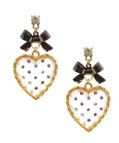 Betsey Johnson quilted clear heart drop earrings
