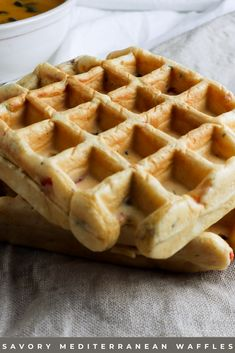 I came up with this recipe because I needed something quick and easy to have with my soup. I believe it is also perfect for someone looking for savory breakfast ideas! So, there you have it: savory vegetarian Mediterranean waffles you can have with your soup or for breakfast! Or however you want, have them for dessert, I won't judge you! #savorywaffles #savorybreakfast #vegetarianrecipe Savory Waffles, Savory Breakfast, Vegetarian Breakfast, Breakfast Ideas, Waffle Recipes, Vegetarian Recipes, Soup, Stuffed Peppers, Vegetarische Rezepte