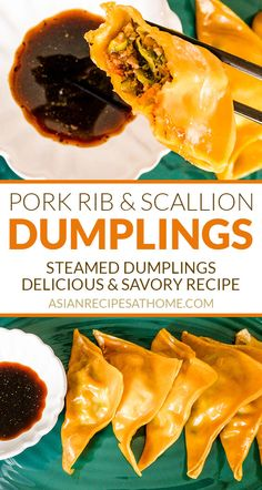 Pork Rib & Scallion Steamed Dumplings (Mandu) - This unique steamed dumpling (mandu) recipe is made with pork rib meat, scallions, and a combination of seasonings. Using pork rib meat for these dumplings make them melt-in-your-mouth and irresistible. Full recipe at AsianRecipesAtHome.com #koreanrecipes #koreanfood #dumplingsrecipe #dumplings #appetizerrecipes Pork Rib Recipes, Sauce Recipes, Asian Recipes, Cooking Recipes, Ethnic Recipes, Asian Foods, Steamed Dumplings, Dumplings For Soup, Dumpling Recipe