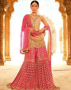 Pink dot and gold gharara/Pakistani Pakistani Bridal Couture, Indian Bridal Wear, Indian Couture, Indian Wear, Indian Style, Couture Mode, Couture Fashion, Bridal Fashion, Pakistani Outfits