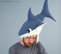 shark hat from etsy seller obeymybrain @Rita Forbes  This hat is perfect for so many reasons.  Although I might be a sucker for the model's beard. . .
