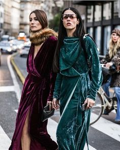 Giorgia Tordini and Gilda Ambrosio crush it in crushed velvet dresses