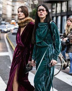 Giorgia Tordini and Gilda Ambrosio crush it in crushed velvet dresses