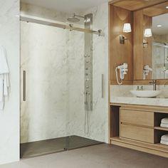 The VIGO Caspian Frameless Sliding Shower Door features a unique double-slider door system, giving any bathroom a modern upgrade. Vigo Shower Doors, Bathroom Shower Doors, Frameless Sliding Shower Doors, Double Sliding Doors, Sliding Door Design, Glass Shower Doors, Modern Shower, Modern Bathroom, Bathroom Interior