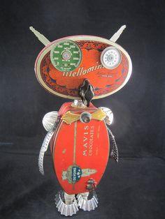 Mavis Owl Bot found object robot sculpture assemblage by ckudja