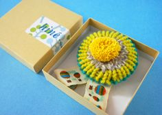 Knitted Rosette Brooch mustard/turquoise by hine on Etsy, $32.00