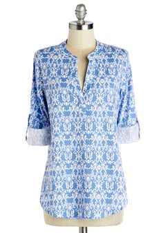 Isle of Adorable Top. In your world, summer style is all about appearing as though youre on an island, just as you look in this light blue tunic! #blue #modcloth