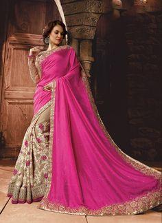 Refreshing Hot Pink Designer Saree