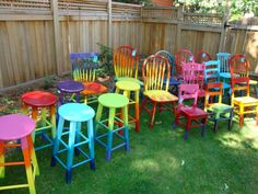 Ombre Tie dye furniture. It would be neat to use these in a window or seasonally to tie in with a store display.