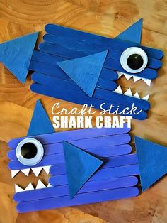 Craft Stick Shark Craft | Our Kid Things #oceancrafts #popsiclestickcrafts #craftsticks #shark #kidscrafts