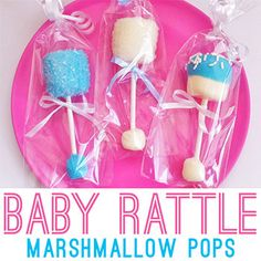 How's this for a cute and easy baby shower favor – baby rattle marshmallow pops! This idea is by Alexandra of Apron Strings Baking, who made the pops from just a few simple ingredients. You can read all about how to make these lil' cuties ...