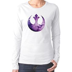 Womens Purple Starry Rebel Alliance Star Wars Logo Tshirts White Long Sleeves @ niftywarehouse.com #NiftyWarehouse #Geek #Products #StarWars #Movies #Film