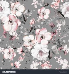 Seamless pattern with spring pink flowers and leaves. floral pattern for wallpaper or fabric. Victorian Curtains, Cherry Blossom Painting, Paper Illustration, Leaf Art, Love Wallpaper, Pattern Art, Spring Flowers, Floral Wreath, Floral Prints