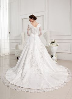 Ball-Gown V-neck Chapel Train Satin Tulle Wedding Dress With Beading Appliques Lace (002012846) - JJsHouse