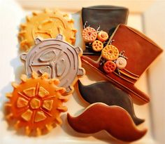 Steampunk Inspired Sugar Decorated Sugar  Cookies. Collection