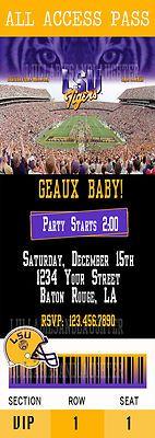 LSU Tigers Football Bridal Shower Ticket Birthday Invitation Digital File 5x7 | eBay