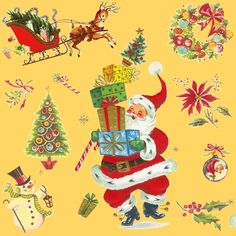HO HO Happy vintage Christmas Santa lt fabric by parisbebe on Spoonflower - custom fabric