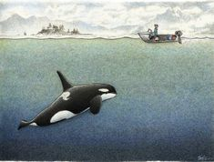 William Kurelek, Fairbanks Morse, The Wheelhouse, Alaska Fishing, Watercolor Ocean, Below Deck, Tug Boats, Drawing Base, Killer Whales