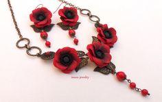 Red Poppy Red Jewelry Poppy Jewelry Flower Jewelry by insoujewelry