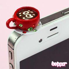 Jewel Coffee Earphone Jack Charm - Straps & Charms - Mobile Accessories | Blippo Kawaii Shop