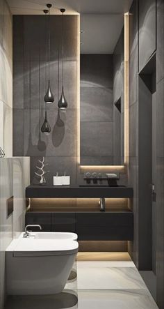 Browse modern bathroom designs and decorating ideas. Discover inspiration for your minimalist bathroom remodel, including colors, storage, and layouts. Bathroom Design Luxury, Modern Bathroom Design, Modern Interior Design, Small Luxury Bathrooms, Modern Luxury Bathroom, Minimalist Bathroom Design, Modern Bathtub, Minimal Bathroom, Modern Decor