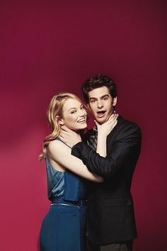 Hey, look at this photo of them being silly: | Emma Stone And Andrew Garfield Won 2012