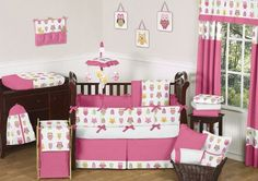 Pink Happy Owl Forest Nature Baby Girl Bedding 9pc Crib Set by Sweet Jojo Designs Sweet Jojo Designs,http://www.amazon.com/dp/B006WAF1BA/ref=cm_sw_r_pi_dp_0MrOsb0FKD4F446K